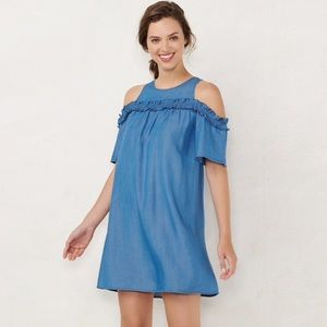 ✨NWT light blue shoulder cut out dress